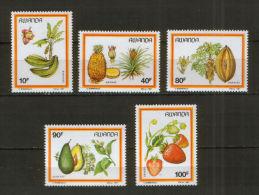 RWANDA 1987 - Fruits Du Rwanda, Ananas, Avocat, Fraises, Bananes Et Papayes - 5 Val Neuf // Mnh // CV €15.00 - Rwanda