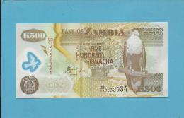 ZAMBIA - 500 KWACHA - 2005 - Pick 44.d - Sign. 12 - Fish Eagle - Polymer Plastic - 2 Scans - Zambia