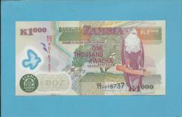 ZAMBIA - 1000 KWACHA - 2005 - Pick 45.d - Sign. 12 - Fish Eagle - Polymer Plastic - 2 Scans - Zambia