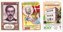 BCG Lot 3 Timbres Antituberculeux Et Pochette Papier Cristal 1952-1954 Et Villemin édition Comité National De Défense - Erinnophilie
