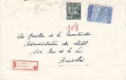 Métiers - Industrie - Belgique - Lettre Recommandée De 1949 ° - Oblitération Leval Trahegnies - U.P.U.
