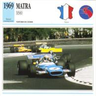 Fiche  -  Formula 1 Grand Prix Cars  -  Matra MS80  -  Pilote Jackie Stewart  -  Carte De Collection - Grand Prix / F1