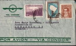 ! Brief , Old Cover, Air Mail To Hamburg Germany, Por Avion,  Via Condor, Argentina, Buenos Aires - Poste Aérienne