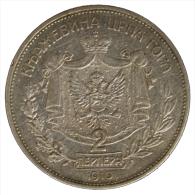 Montenegro 2 Perpera 1910 Argento Silver #6311A - Yugoslavia
