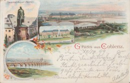 Litho Gruss Aus Coblenz Schloss, Moselbrücke, Denkmal Gelaufen 14.10.1899 - Koblenz