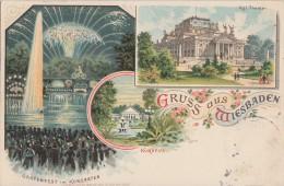 Litho Gruss Aus Wiesbaden Kurhaus, Kgl. Theater, Feuerwerk Gelaufen 13.7.1899 - Wiesbaden