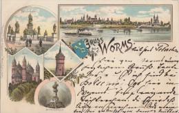 Litho Gruss Aus Worms Gelaufen 20.9.1896 - Worms