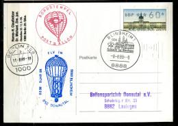 "Germany 1988 Stempelkarte/Motiv Ballonpost Jahrtausendstempel  M.ATM Berlin Nr. 1 U. SST""Blindheim-.8.8.88""1 Karte - Lettere"