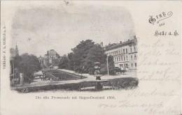 AK Gruss Aus Halle Alte Promenade Mit Sieges-Denkmal S/w Gelaufen 1899 Nach Holland - Halle (Saale)