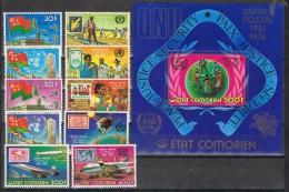 ONU-L1 - ETAT COMORIEN N°154/61 + PA 110/11 + BF Neufs** - Thèmes ONU Et Postes - Comores (1975-...)