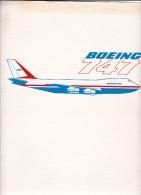 Pochette Aviation Boeing 747 Air France 4 Photos Plan Reseau Itineraire Long Courriers Article Journal Jacques Bellonte - Aviation Commerciale