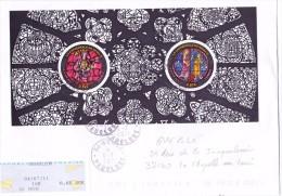 France Oblitération Cachet à Date BF N° F 4549 B - Vitraux De La Cathédrale De Reims (lettre Circulée) - Sheetlets