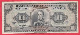 Equateur 100 Sucres Du 24/05/1980  (sign #) état - Ecuador