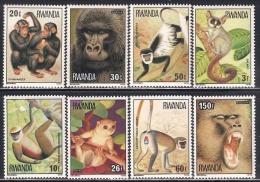 RWANDA 1978 - Faune Africaine, Singes du Rwanda - 8 val Neuf // Mnh