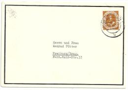 Deutschland 1951 Posthorn 4 Pfg Als Einzelfrankatur Von Lörrach Nach Freiburg Michel 124 Gestempelt Todesanzeigenbrief - Storia Postale