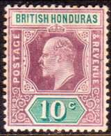 British Honduras 1907 SG #87 10c MH OG Slightly Toned On Edges - British Honduras (...-1970)