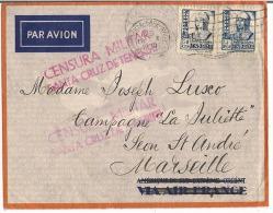 Lettre Espagne 1938 Destination Marseille + Censure Militaire Santa Cruz De Ténérife - Marcas De Censura Nacional