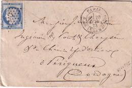PARIS - ETOILE 35 - R.DE LUXEMBOURG - 20-6-1873 - N°60 CERES 25c - PETITE ENVELOPPE. - Marcophilie (Lettres)