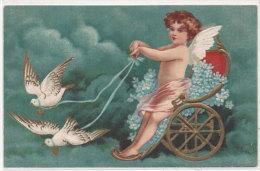 Angelot Avec Attelage Tiré Par 2 Colombes - CPA Gaufrée  (77319) - Bébés