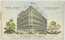 Havana Advert Hotel Plaza Art Card Rotary Headquarters Rotary Club American Management Cie Litografica De La Habana - Cuba