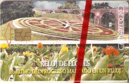 TARJETA DE GUATEMALA DEL RELOJ DE FLORES (FLOR-FLOWER)  (LADATEL) NUEVA-MINT - Guatemala