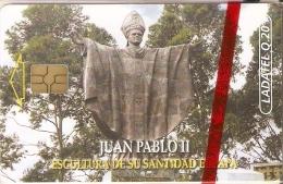 TARJETA DE GUATEMALA DE LA ESCULTURA DE EL PAPA JUAN PABLO II (LADATEL) NUEVA-MINT - Guatemala