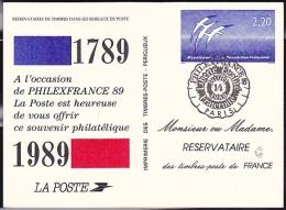 FRANCE 1989   Philexfrance Souvenir Philatélique  Liberté Egalité Fraternité  Paris 14.07.1989 - Postal Stamped Stationery