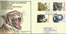 MALAISIE.Panthère,Éléphant D´Asie,Ours Malais,Rhinocéros De Sumatra, Belle Lettre FDC Adressée Au Japon - Félins