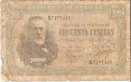 BILLETE DE ESPAÑA DE 50 PTAS DEL 9/01/1940 SERIE A CALIDAD  RC (BANKNOTE) - [ 3] 1936-1975 : Régence De Franco