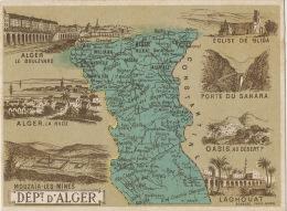 Chromo Departement Alger Carte Geo Mouzaia Les Mines , Laghouat , Blida - Algérie