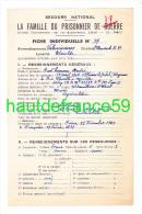 R SECOURS NATIONAL Fiche 1942 LA FAMILLE DU PRISONNIER DE GUERRE Valenciennes Maulde Stalag IX B Kdo 399 26655 - 1939-45