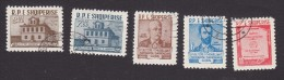 Albania, Scott #565-566, 568-570, Used, Congress Site, Albanian Authors, Issued 1960 - Albania