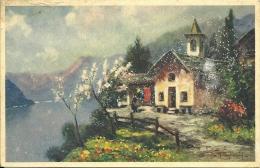 Paesaggio Primaverile Con Chiesetta Sul Lago  Pagliarini Illustratore - Illustratori & Fotografie