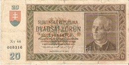 BILLETE DE ESLOVAQUIA DE 20 KORUN DEL AÑO 1939 SPECIMEN   (BANKNOTE) RARO - Slowakei
