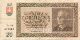 BILLETE DE ESLOVAQUIA DE 20 KORUN DEL AÑO 1939 SPECIMEN   (BANKNOTE) RARO - Eslovaquia