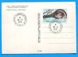 TAAF - Manchots Empereur   Allant à Rockery -  Timbre  Albatros ,affr à DUMONT D'URVILLE ADELIE . Stamp - TAAF : Terres Australes Antarctiques Françaises