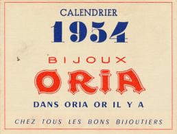 1954, Calendrier 4 Volets Bijoux Oria : Jours Fériées, Vitesses Réelles, Anniversaire De Mariage, Pierre Et Langage, TBE - Calendriers