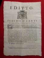 PETRA JORDANIE EDITTO FEDERICO LANTI ARCIVESCOVO 1743 - Historische Documenten