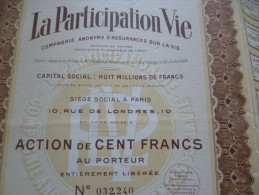 Rare Action La Participation Vie. Assurance Tirage 80 000 Ex 10 0francs. Paris 1929 - Banque & Assurance
