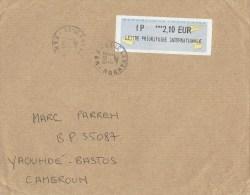 France 2015 Le Lavandou IP Meter Franking Label Avions En Papier Cover To Cameroun - 2000 «Avions En Papier»