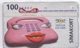 ICELAND PHONECARD WOMAN PHONE -15000pcs-1/93-USED(5)