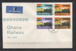Ghana 1963 / Mi 162/165 - Railway, Trains - FDC Cover - Ghana (1957-...)