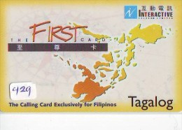Télécarte PHILIPPINES * FILIPPIINES * EPACE (429) GLOBE * SATELLITE * MAPPEMONDE * TK Phonecard * TAGALOG - Philippines