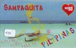 Télécarte PHILIPPINES * FILIPPIINES * EPACE (431) GLOBE * SATELLITE * MAPPEMONDE * TK Phonecard * SAMPAGUITA - Philippines
