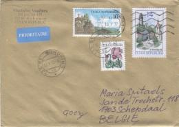 Czech Republic 2012 Postal Cover Bohumin - Schepdaal (Belgium) Flower - Stramberk Square And Castle - Brieven En Documenten