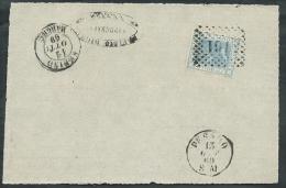 1867 REGNO USATO EFFIGIE 20 CENT FRAMMENTO ANNULLO NUMERALE - K042 - Usati