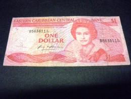 CARAÎBES 1 Dollar 1985/1988,pick N° 21 L,EAST CARIBBEAN CARAIBES, SAINTE LUCIE ,st Lucia Suffixe L - Caribes Orientales
