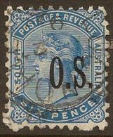 SOUTH AUSTRALIA 1891 6d OS QV SG O67 U #MN257 - 1855-1912 South Australia