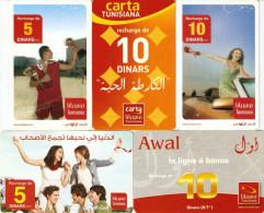 *TUNISIA* -  Lotto Di 5 Schede Usate Differenti - Tunisia