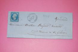 Lettre 1863 Expédiée De La Cote Saint-André, Destinataire : Un Huissier De Saint Etienne De Saint Geoirs, Isère - 1849-1876: Classic Period